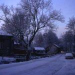 Pohjankatu talvella iltahämärässä