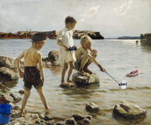 Lauri Ilvesluoto: Pastissi Albert Edelfeltin teoksesta Leikkiviä poikia rannalla