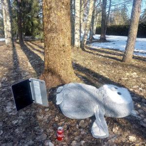 Päivi Leppäniemi: Ympäristötaideteos, jossa otetaan kantaa etäkouluun
